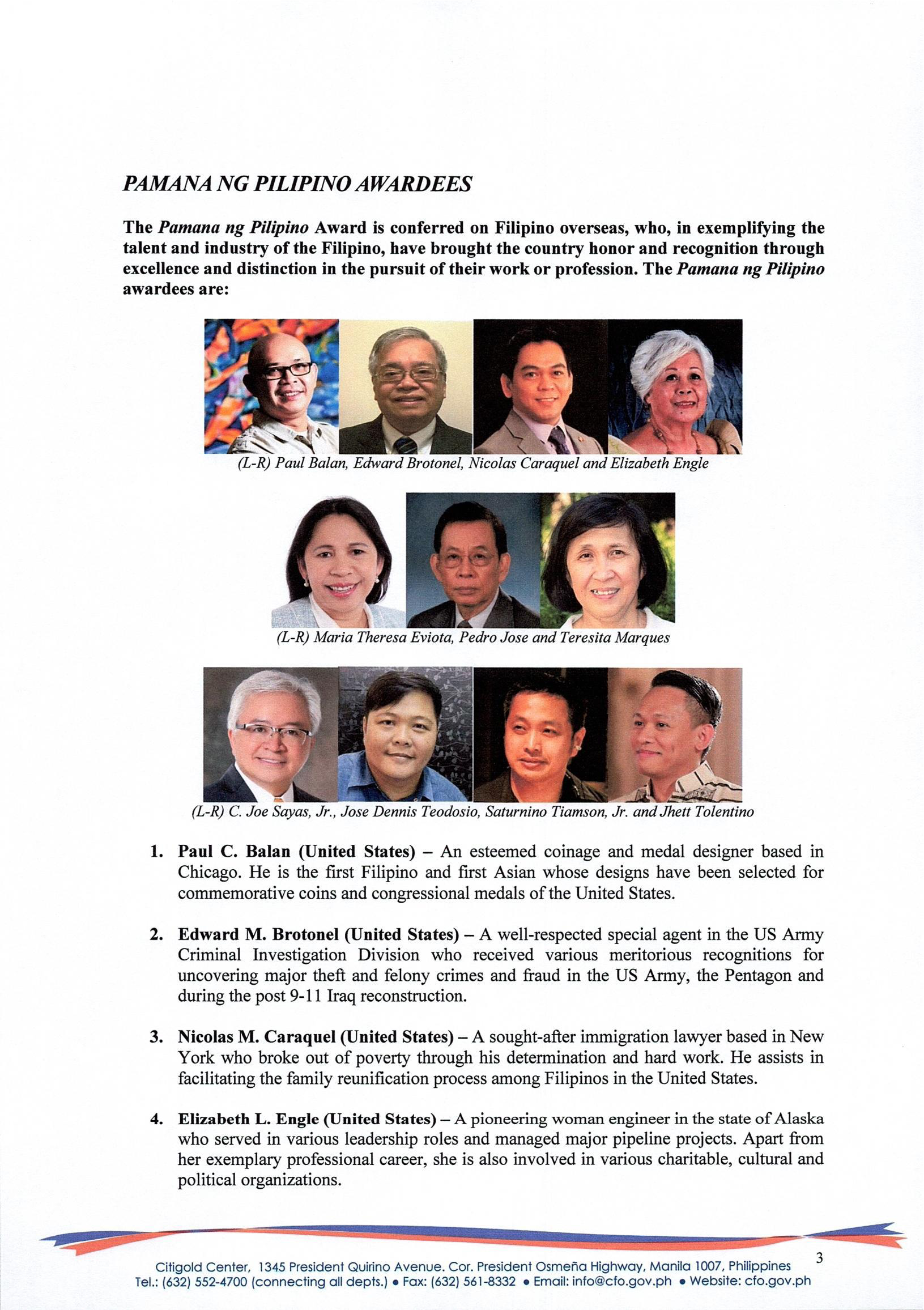 Press Release 2 Recipients of the 2018 Presidential Awards for Filipino Individuals and Organizations Overseas Page 3